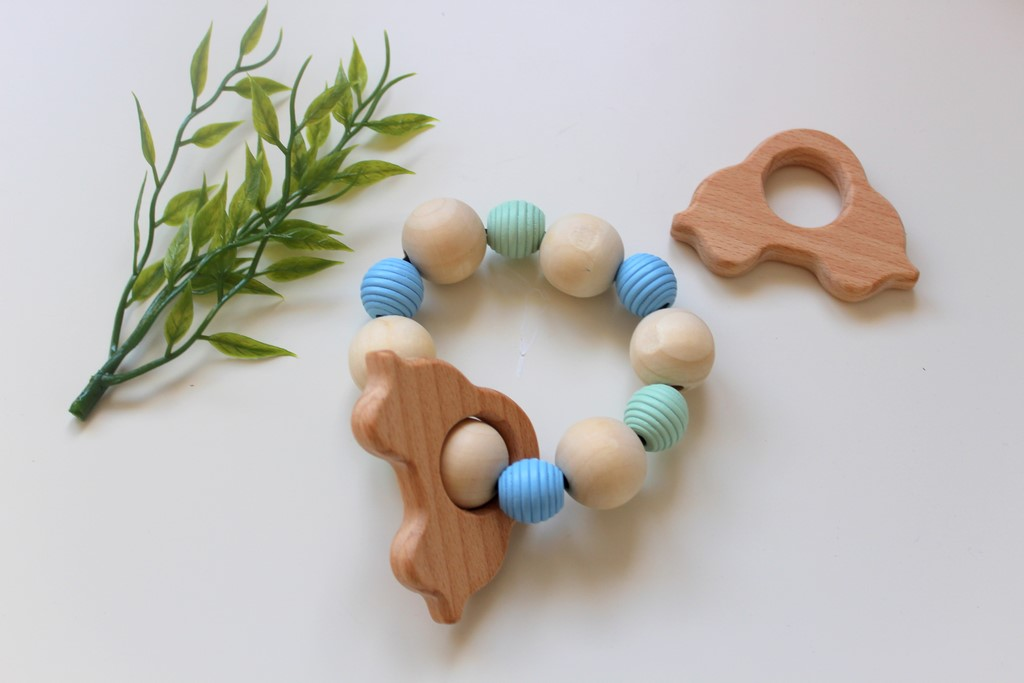 Wooden Teether Rattle - Mint & Blue