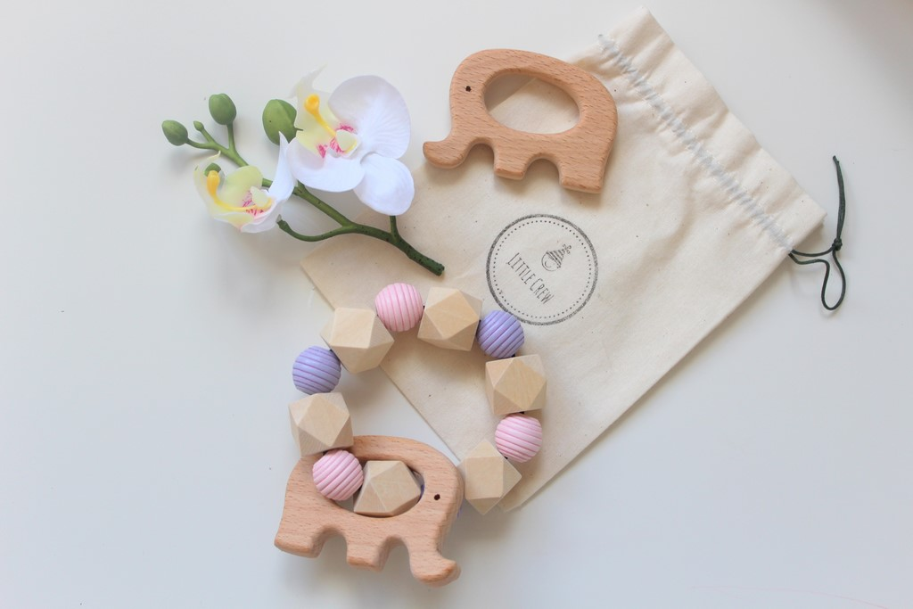 Wooden Teether Rattle - Pink & Purple