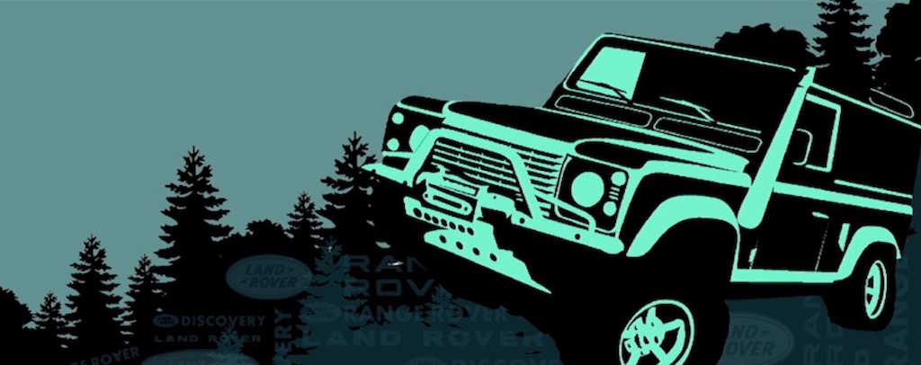 Stylised image of a Land Rover in a forest