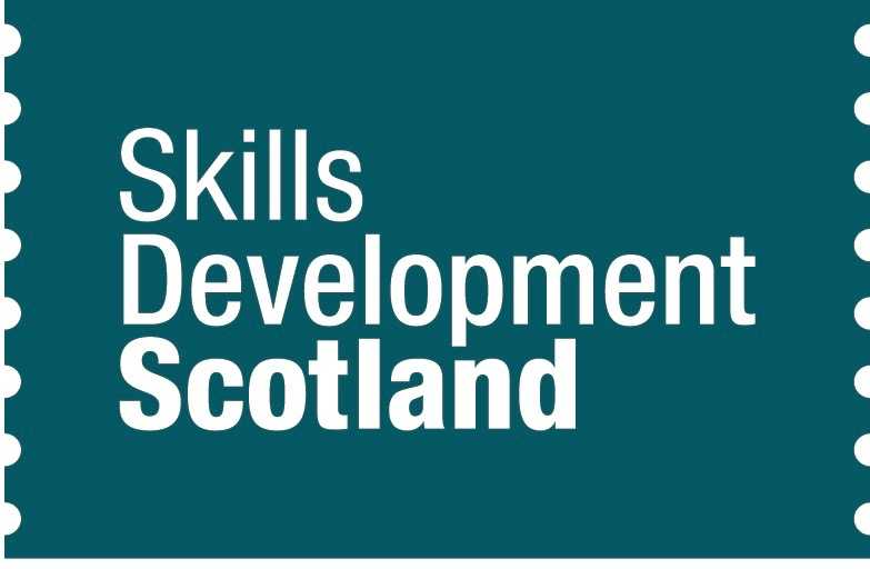 The teal blue logo of Skills Development Scotland with writing in white