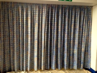 before and after results of extraction cleaning of curtains - fabric restorer required