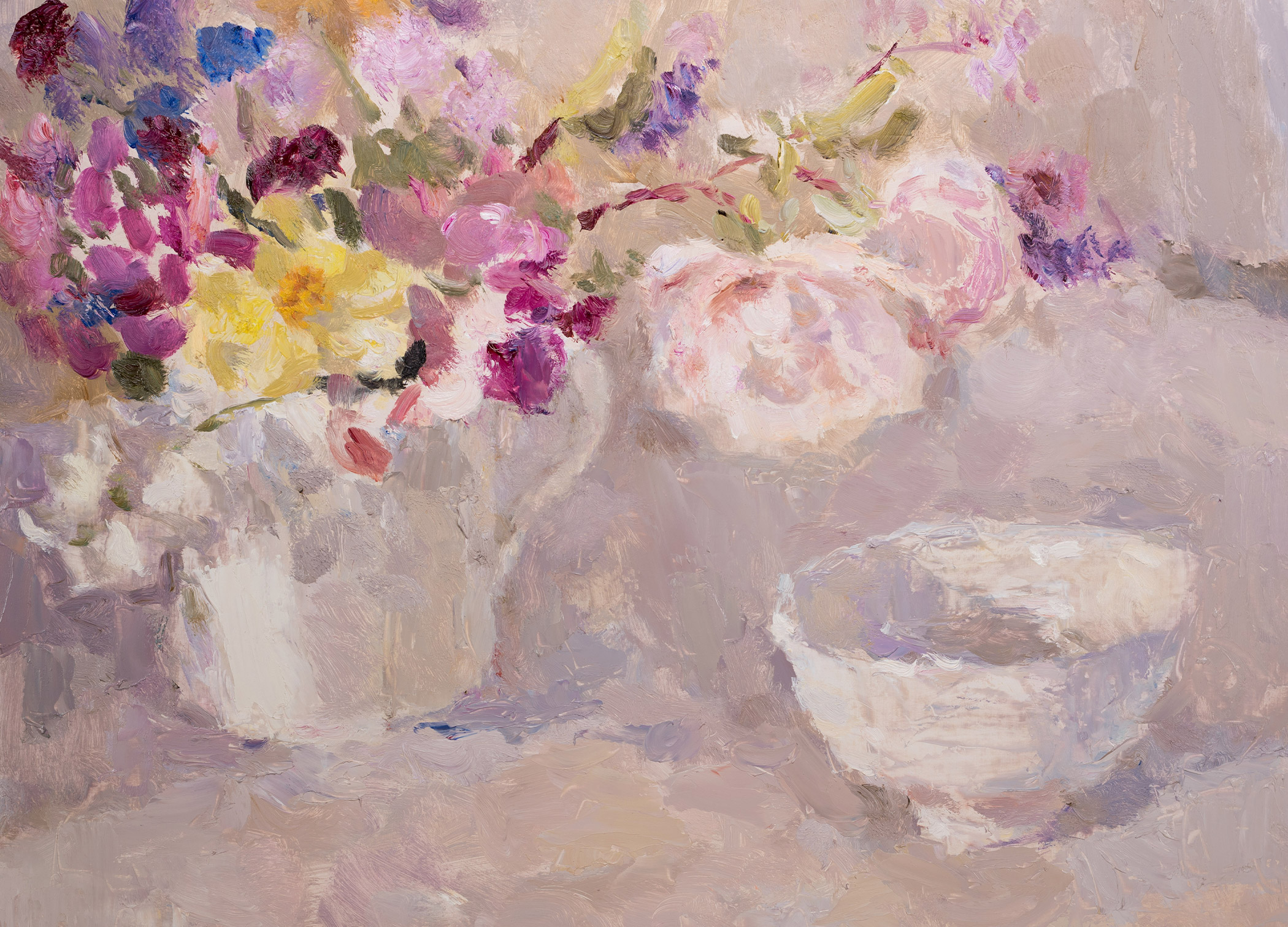 Summer Flowers in a White Jug