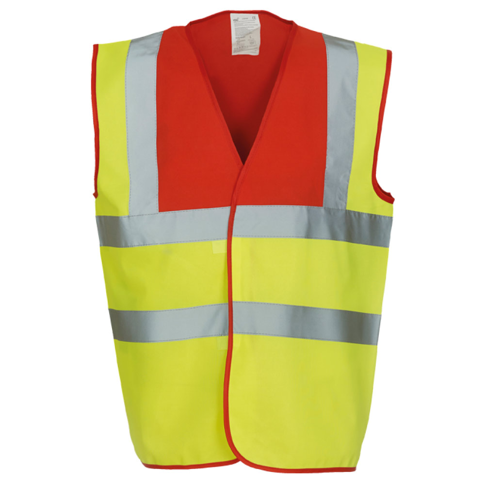 Red Yoke & Yellow Hi Vis Safety Vests
