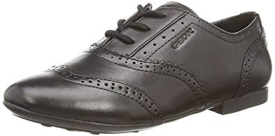 Black brogue school shoes for girls