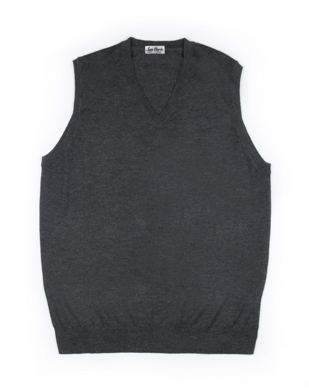V-Neck Silk & Cashmere Vest Charcoal 01
