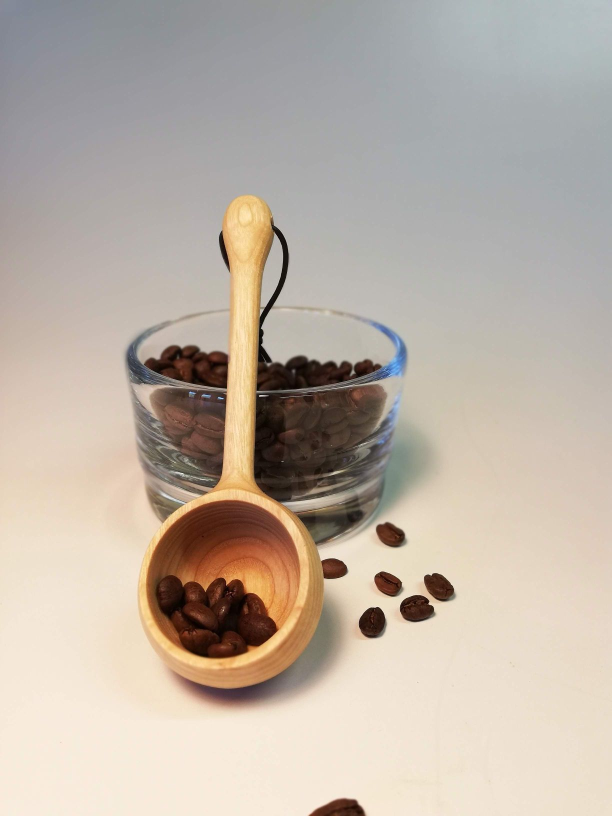 wooden coffee scoop made by eoghan leadbetter