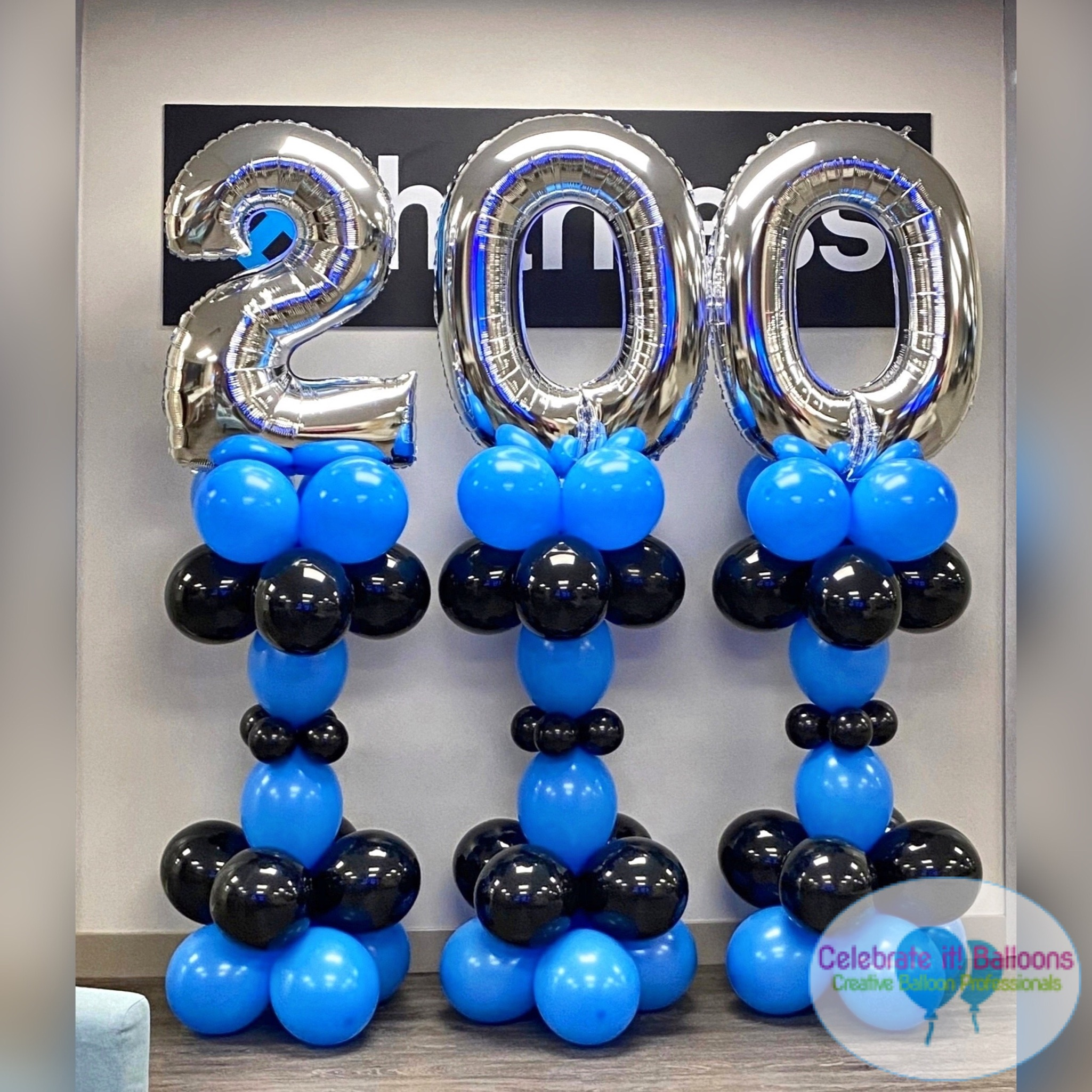 balloon columns with jumbo balloon number topper