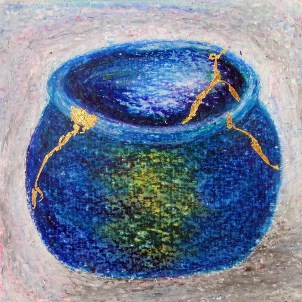 painting of Japanese kintsugi tea bowl with gold by Irish artist blue green