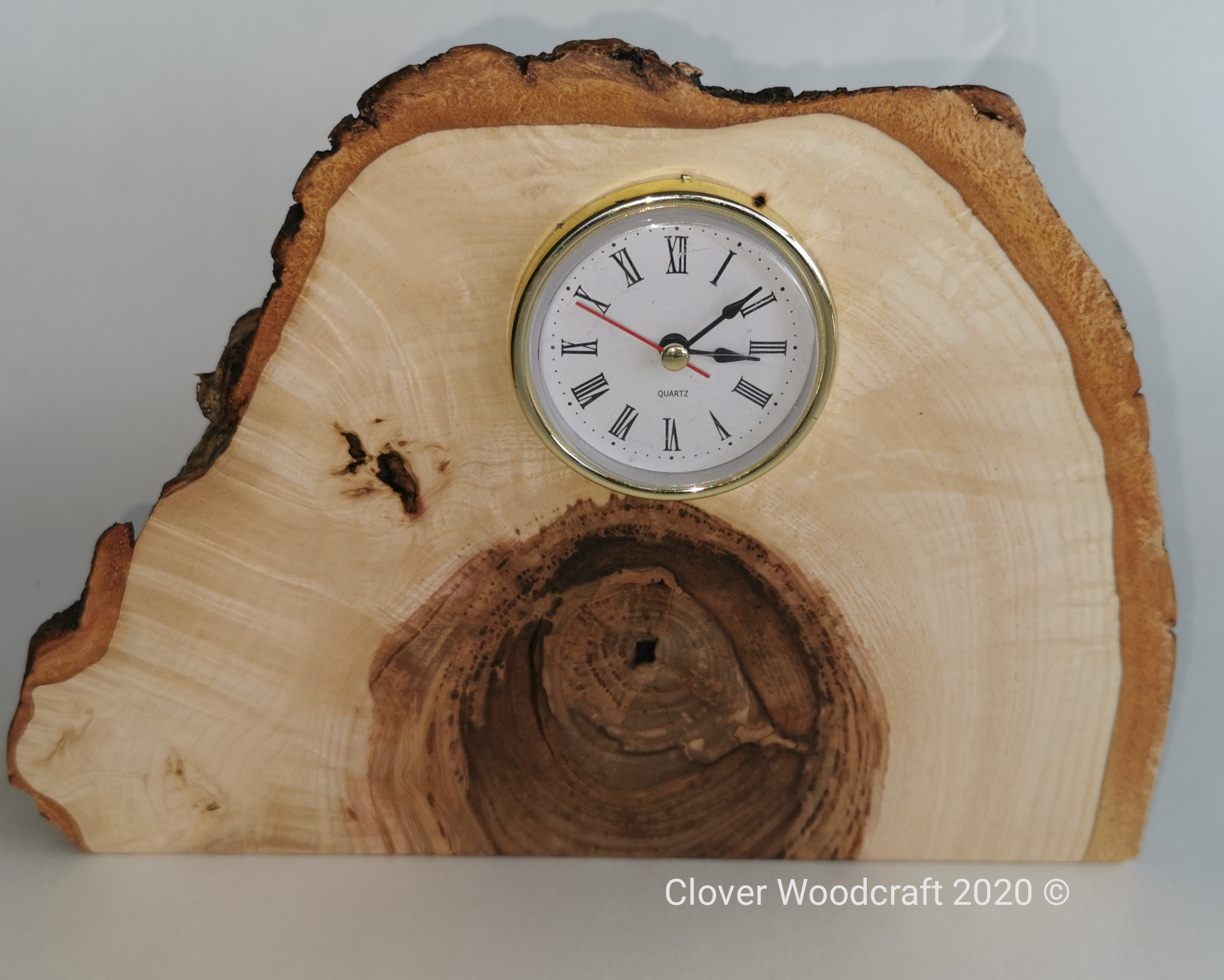 Handmade Wood crafted Olive Ash Mantel Clock
