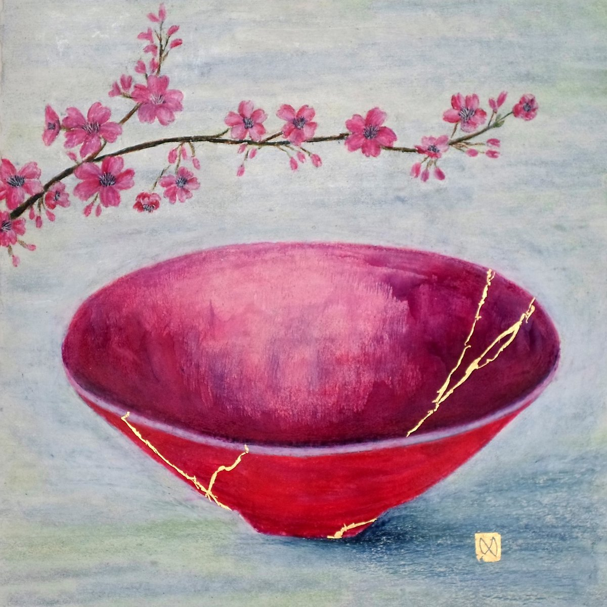 Painting of a pink bowl with cherry blossoms. Kintsugi repaired with gold