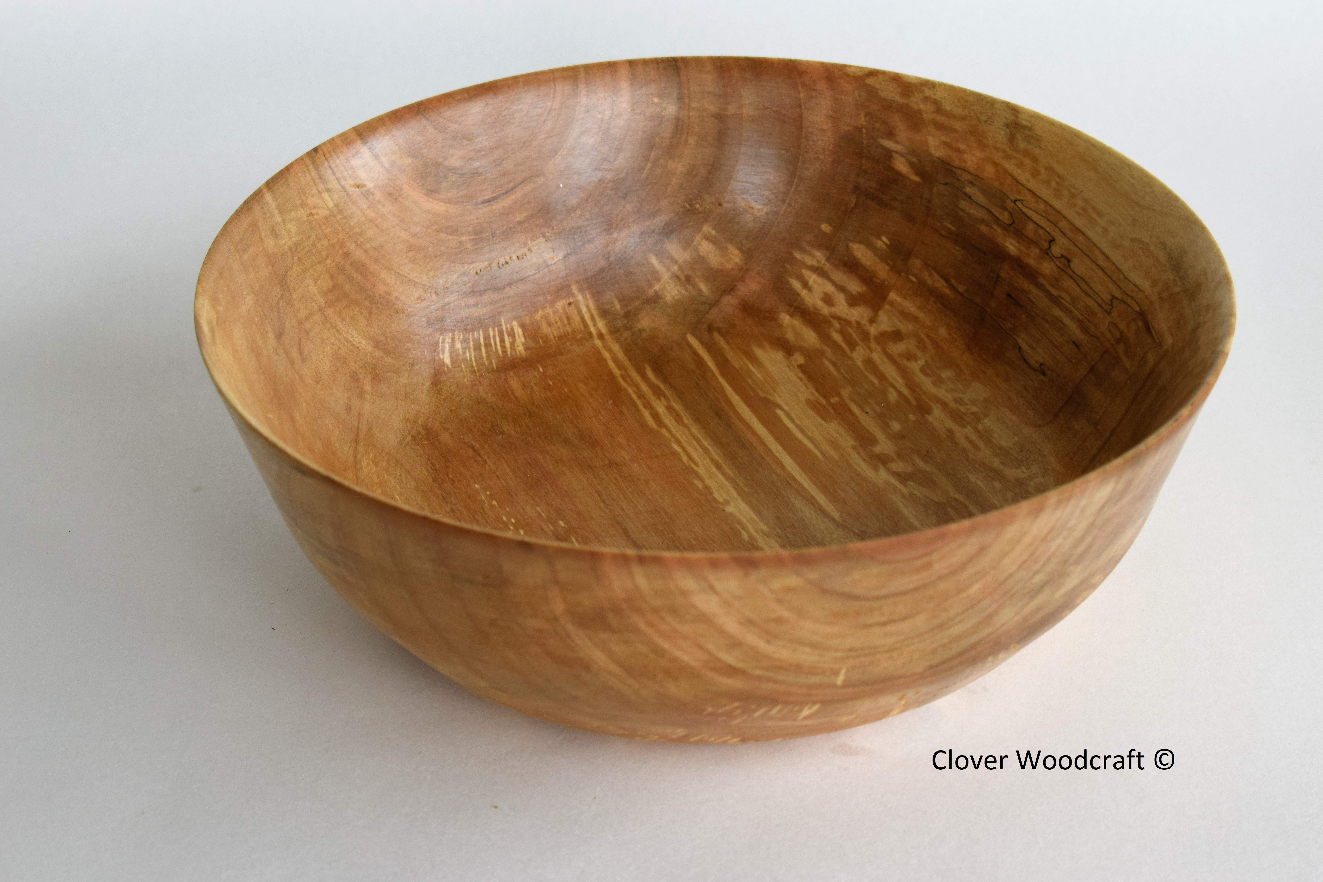 Smooth Spalted Cherry Wood Turned Bowl