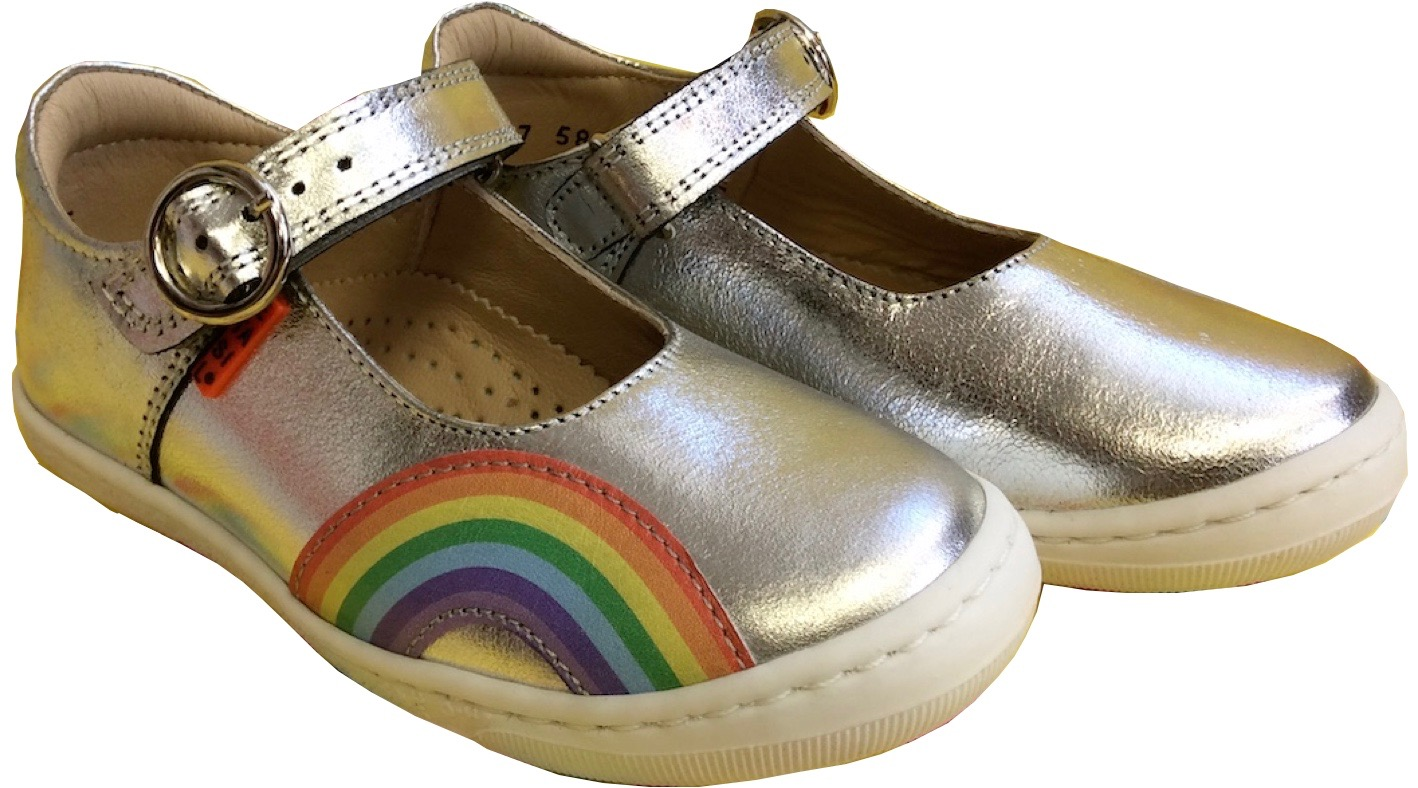 Girls silver shoes with rainbox mary jane style