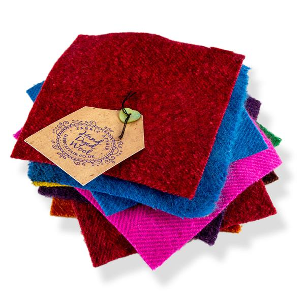 "Fabric Affair Collection: Hand Dyed Pure Wool - 9 Pre -cut 5"" Squares in 9 Colours"
