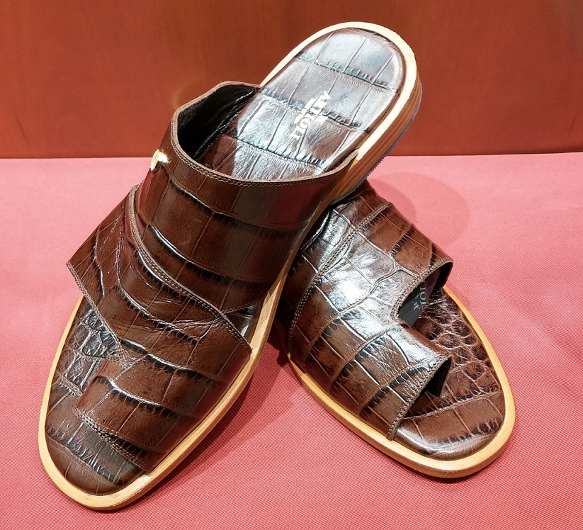 Sandal Style 55B Brown Printed Leather