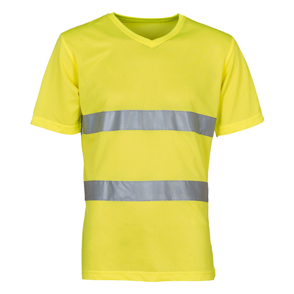 Fashion V-Neck Hi Vis T-Shirt Yellow