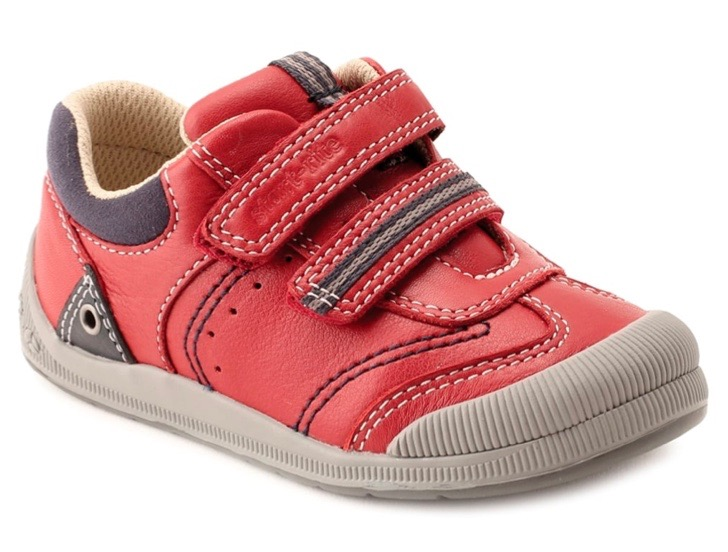 Red leather young boys trainers