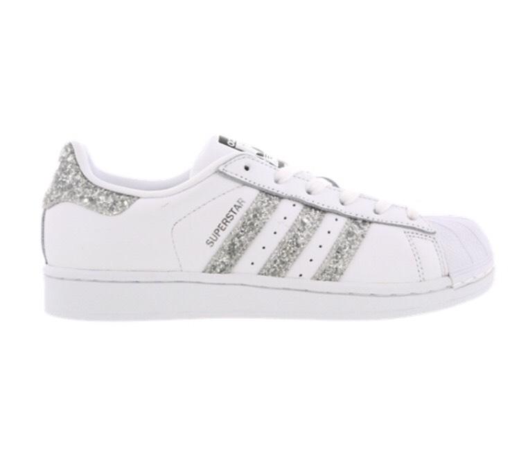 b83e6df14177 Adidas Originals Superstar White   Glitter Stripes