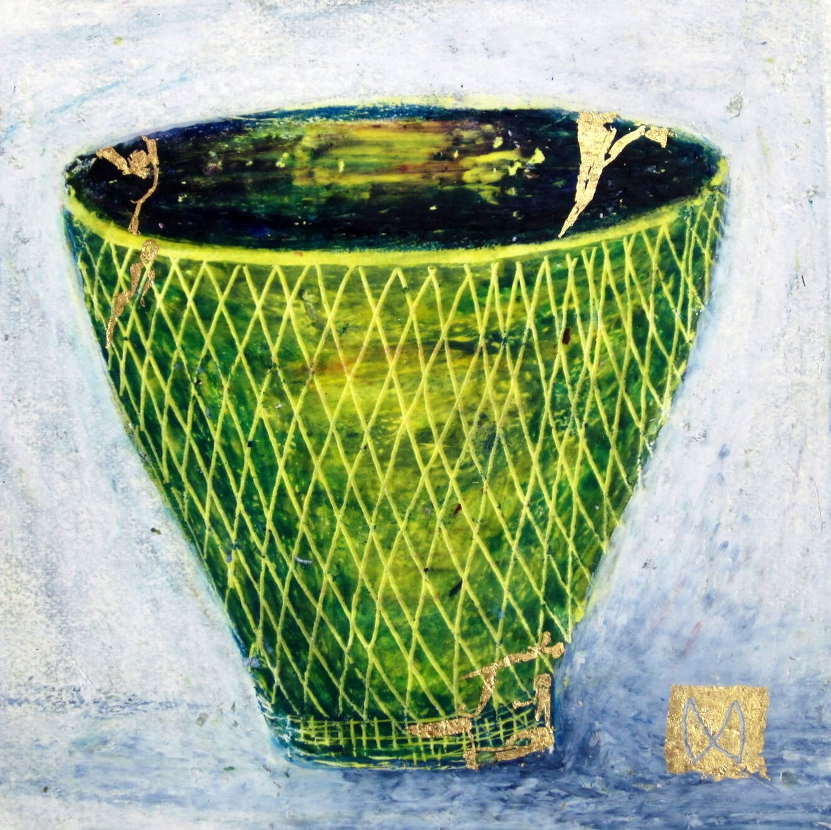 painting of Japanese kintsugi tea bowl with gold by Irish artist green yellow