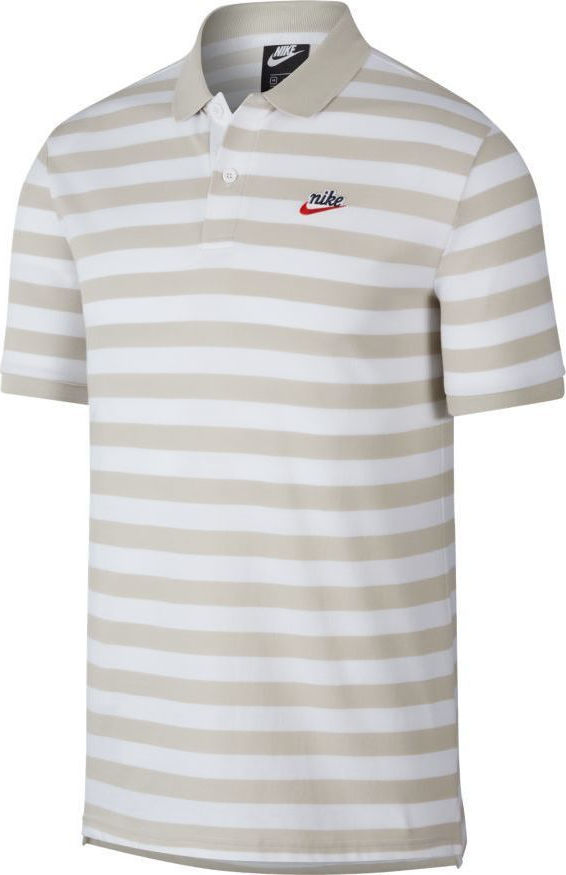 Nike NSW Pique Polo Oatmeal-White
