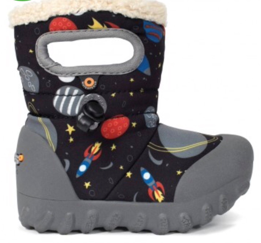 Fur lined snow boots with rocket motif for little boys