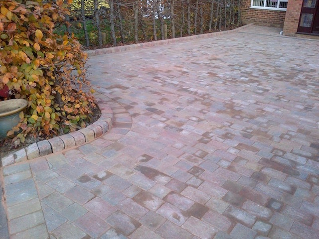 Completed driveway in Block paved driveways Addlestone, Surrey