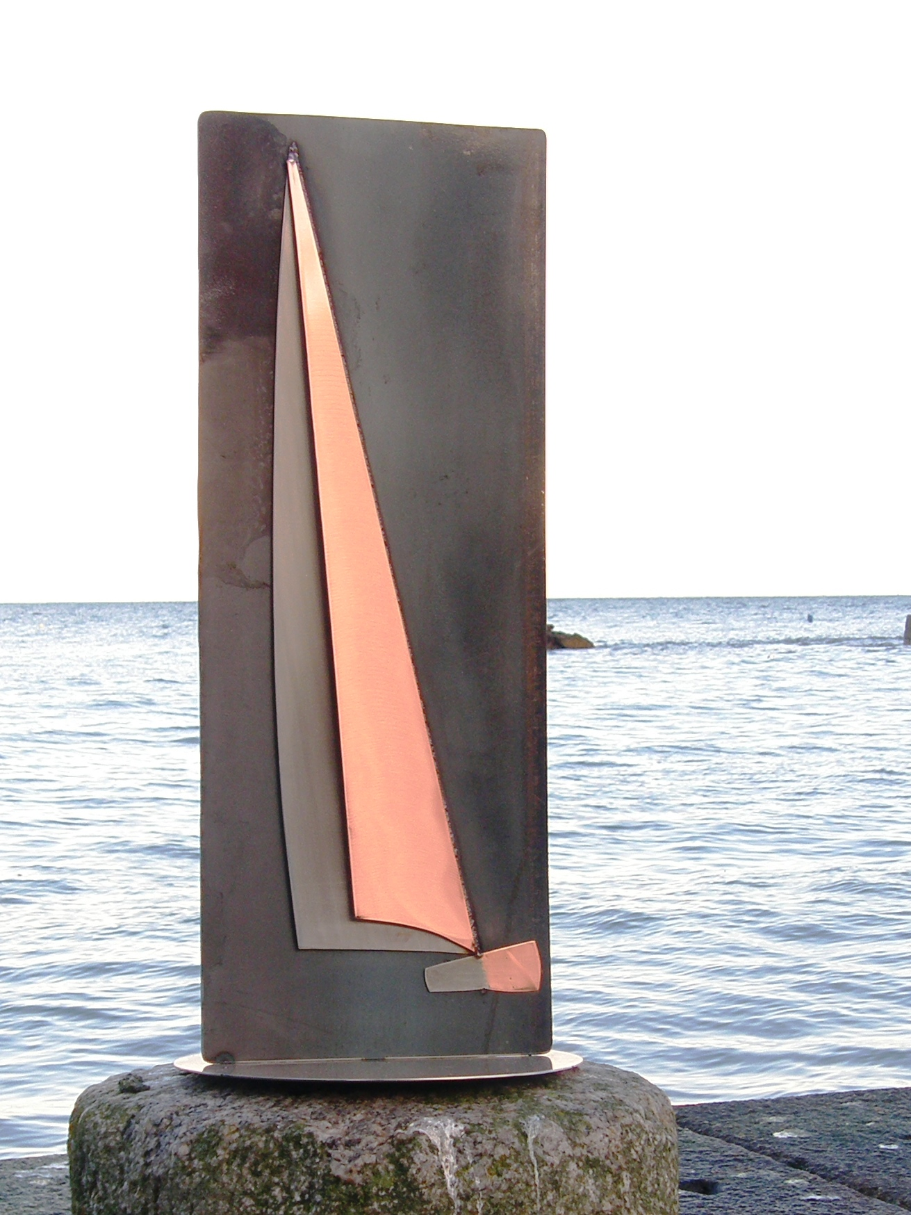 One off Yacht Sculpture in Copper, Stainless Steel & Mild Steel.