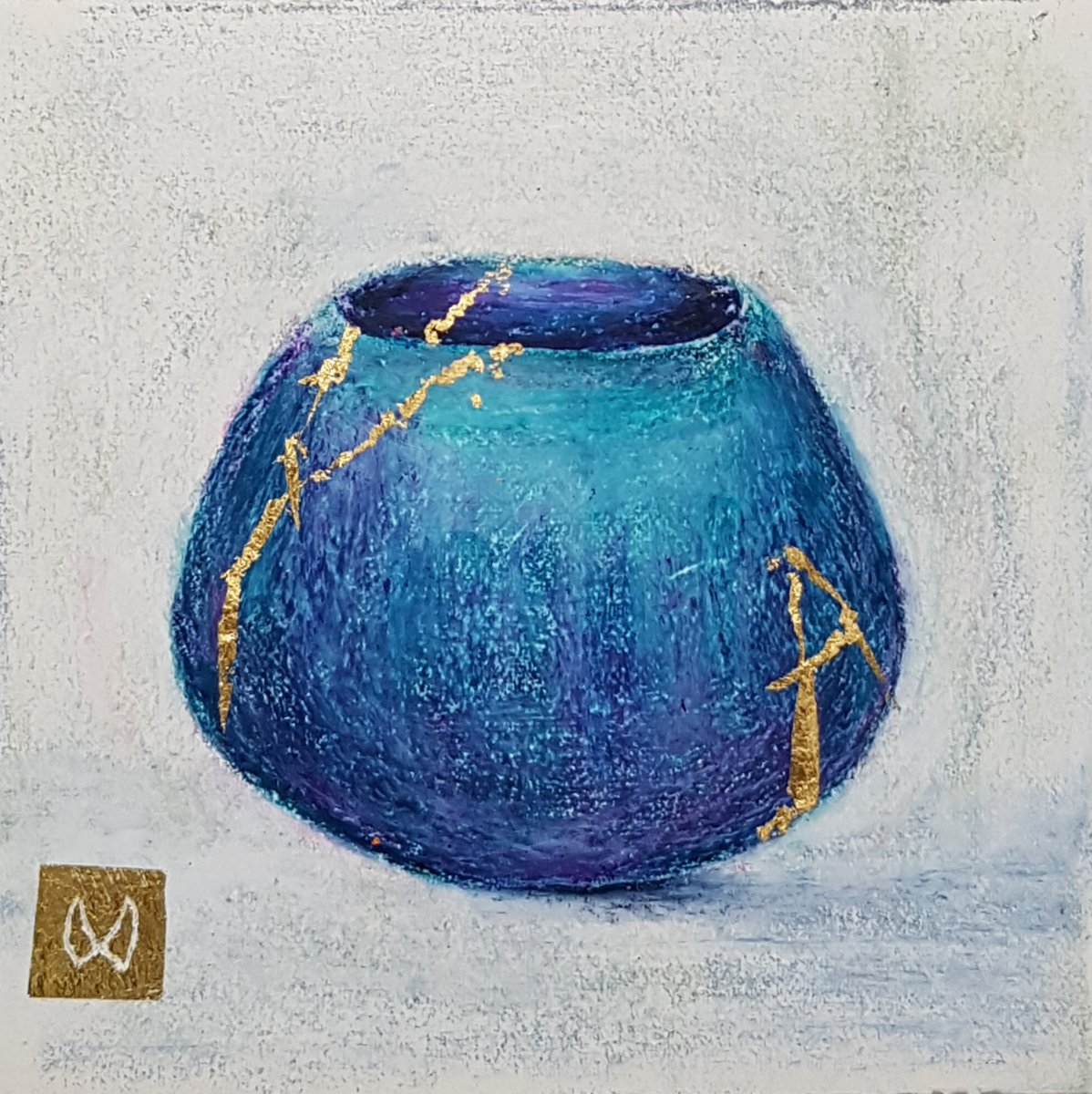 painting of Japanese kintsugi tea bowl with gold by Irish artist teal purple