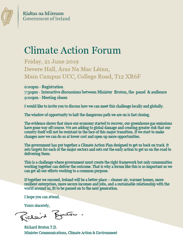 Climate Action Forum UCC Friday 21st June 19:00