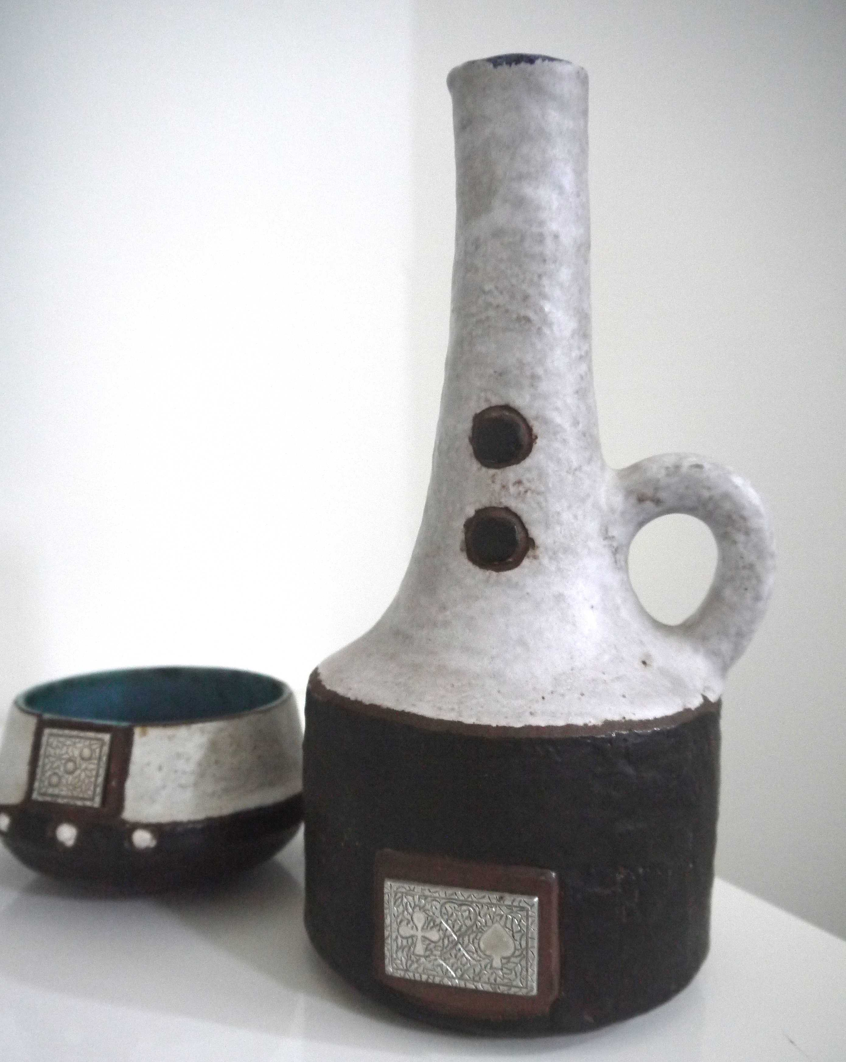 West German Ceramano  Brutalist Domino Carafe and Bowl