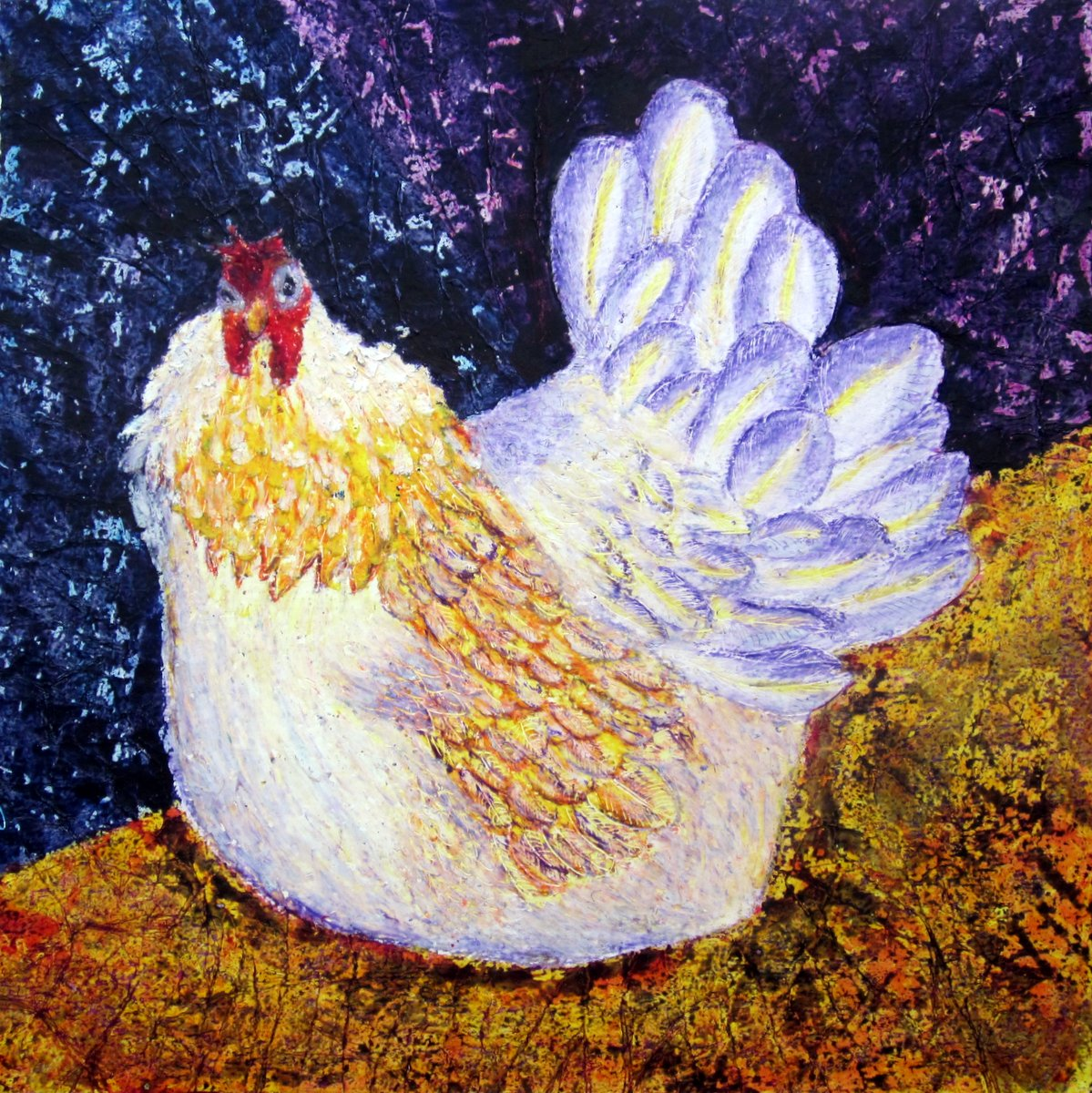 Beautiful vibrant painting of a hen with exotic plumage by contemporary Irish artist Mary Wallace, hen, cockerel, chicken, white, yellow, purple, sepia, rosewood