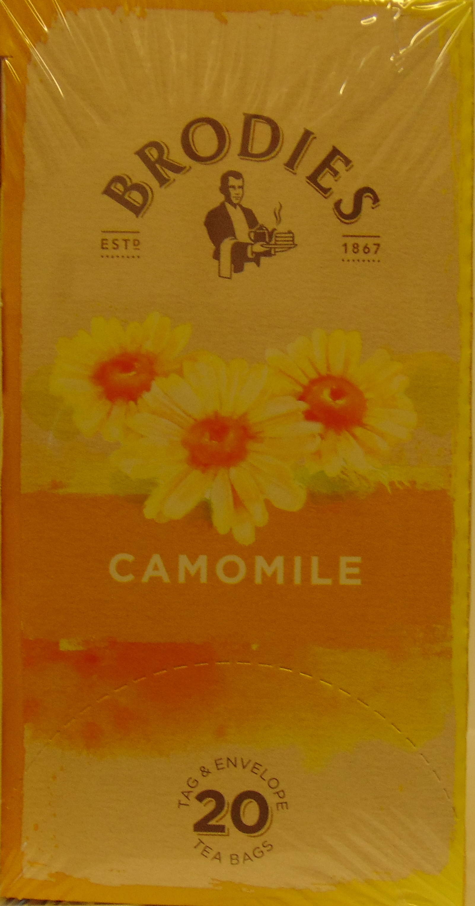 Brodie Melrose Camomile Tea. Tag and Envelope. 86g