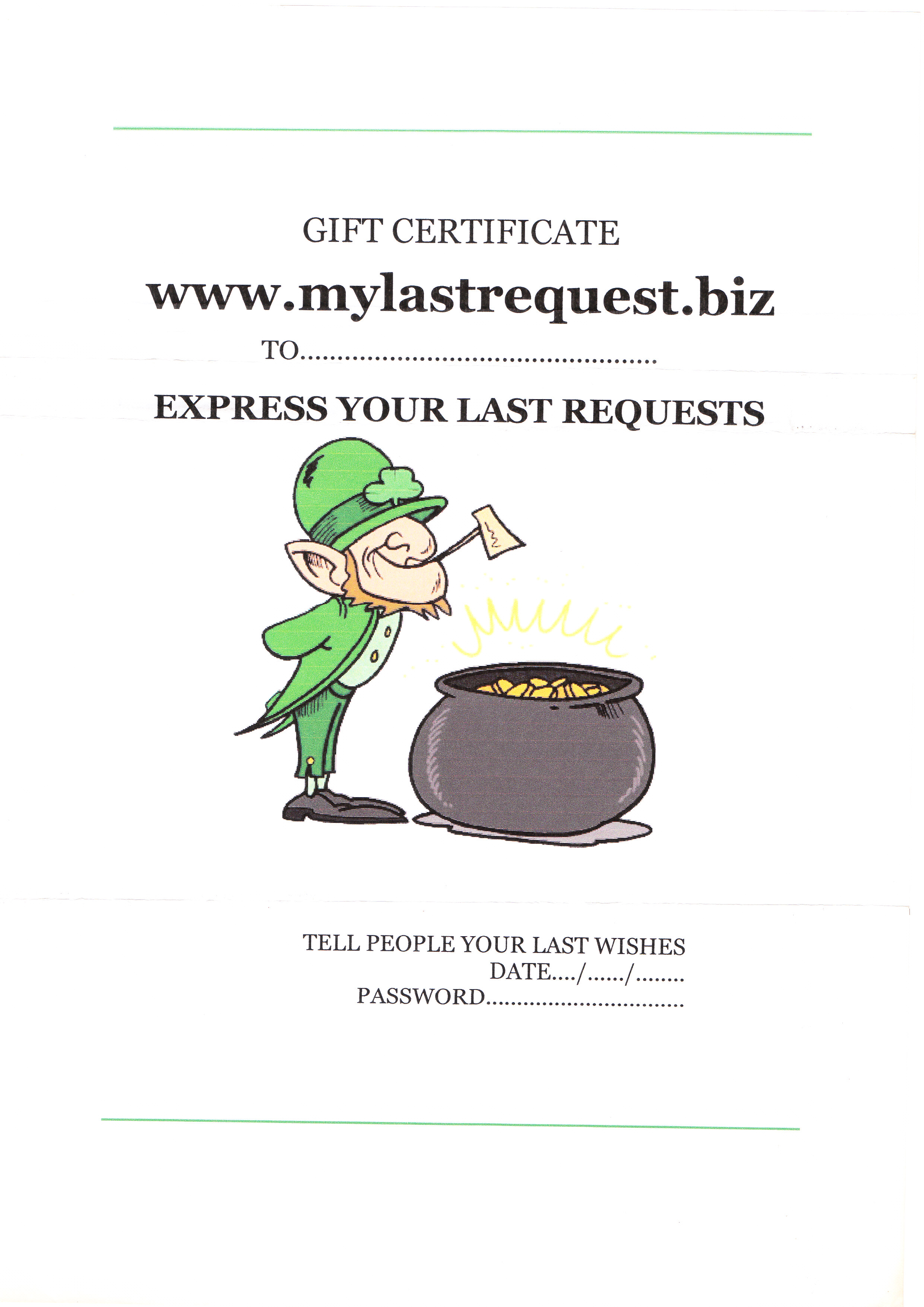 My Last Request Personal Gift Certificates