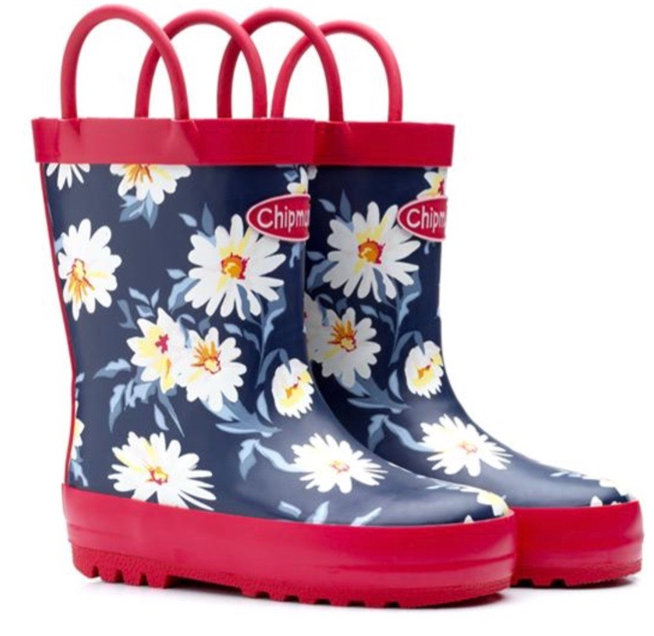 Cute wellies for young girls in navy blue with white flowers and red borders