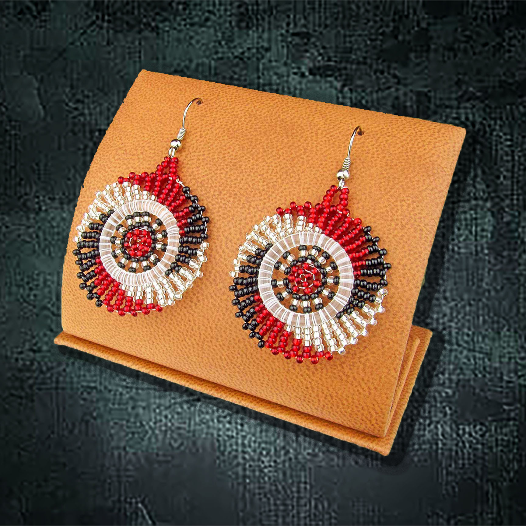 African Beaded Earrings, Circle (Small)