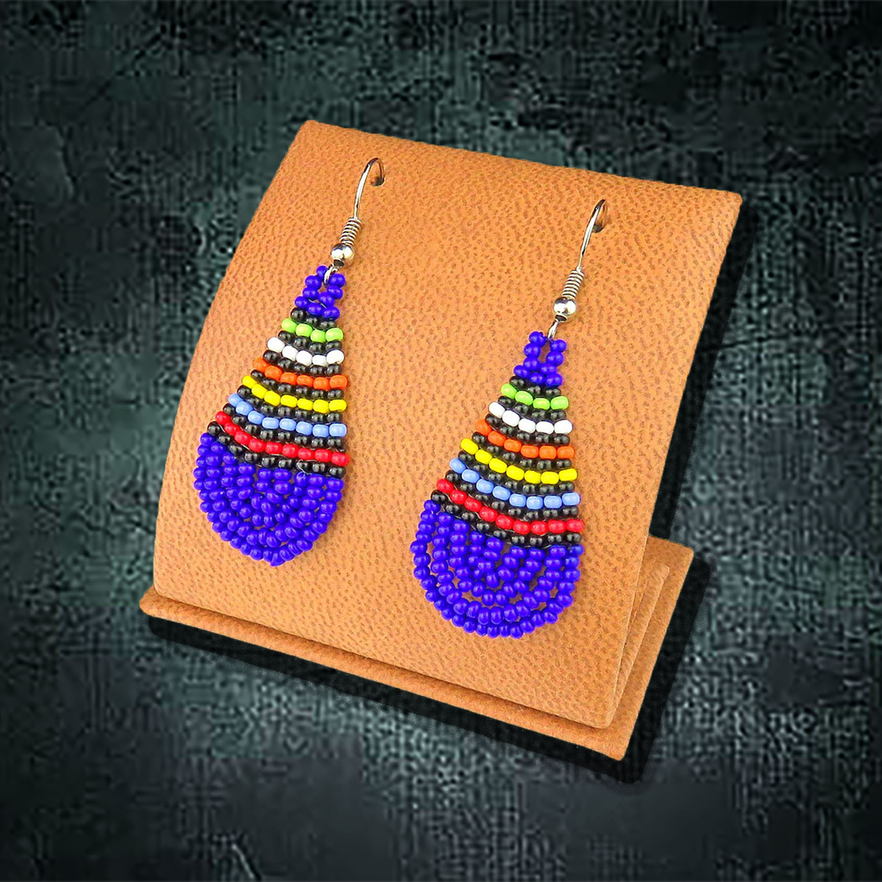 African Beaded Earrings, Teardrop Small