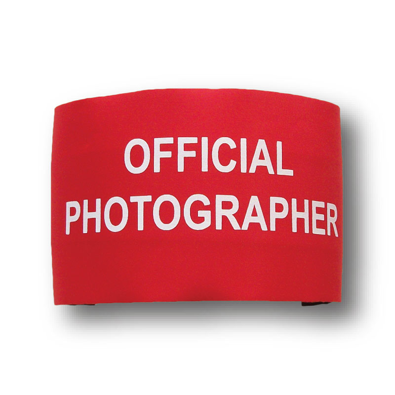 Official Photograper Armbands. Various Colours & Sizes.