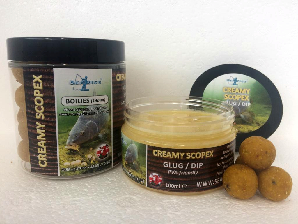"CREAMY SCOPEX 14mm ""OILY BOILIES"" WITH GLUG / DIP POT"