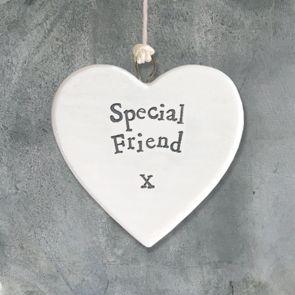 East Of India 'Special Friend' Porcelain Hanging Heart