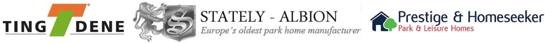 Logos of various park home manufacturers West Park Estates works with including Prestige & Homeseeker and Stately - Albion