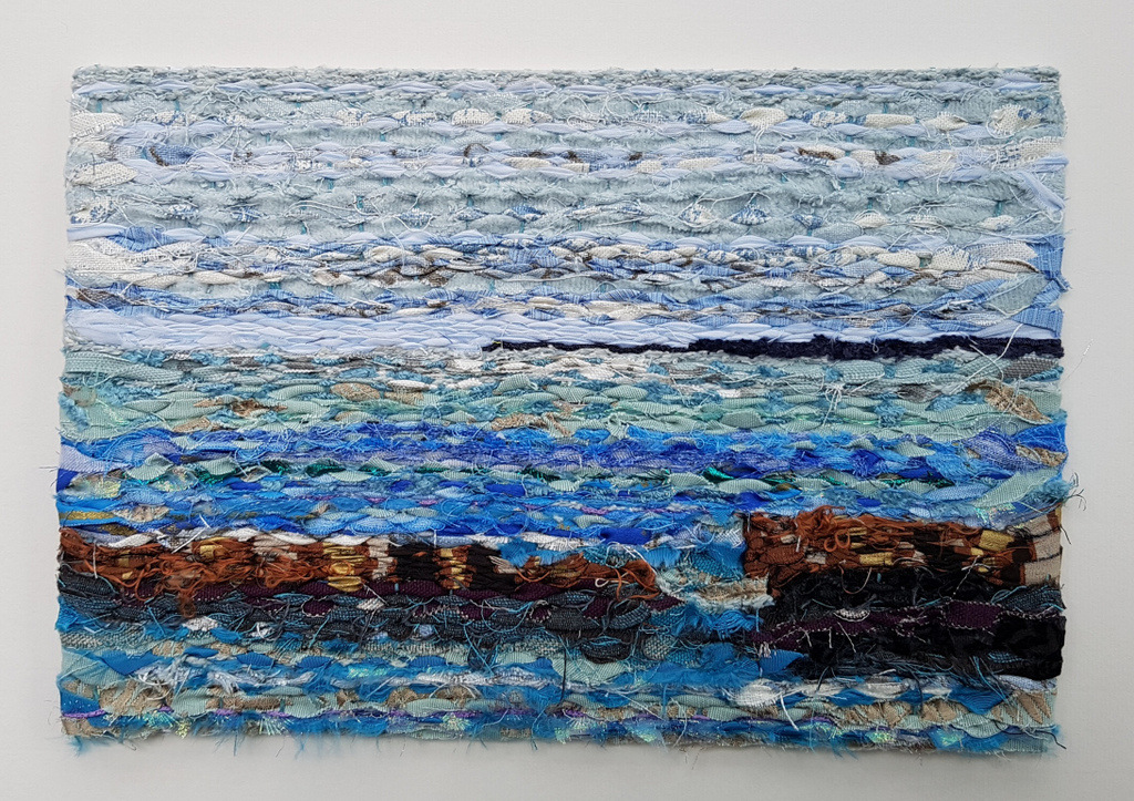 Abstract weaving in linen, silk, cotton. Textile art by Mary Wallace