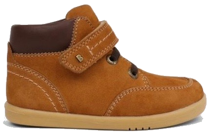 Tan suede boys boots with laces and velcro strap