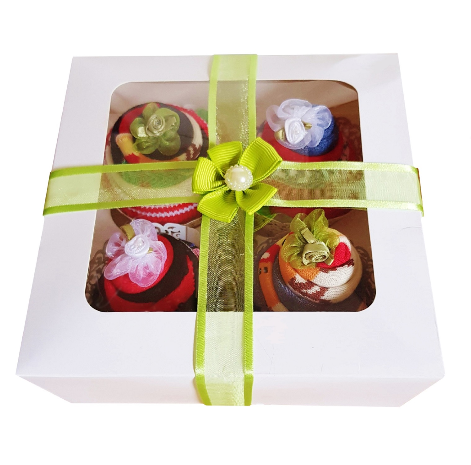 Women's Christmas Sock Cupcakes - Green Ribbon Gift Box