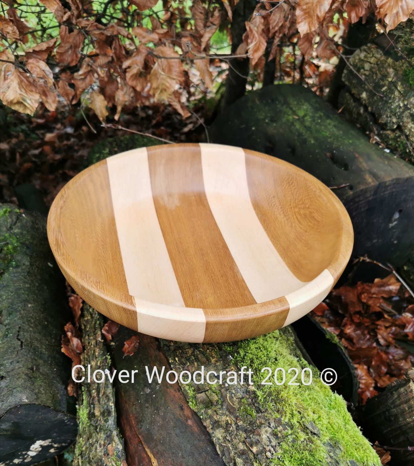 Large Segmented Two Stripe Wood Turned Fruit/Salad Bowl