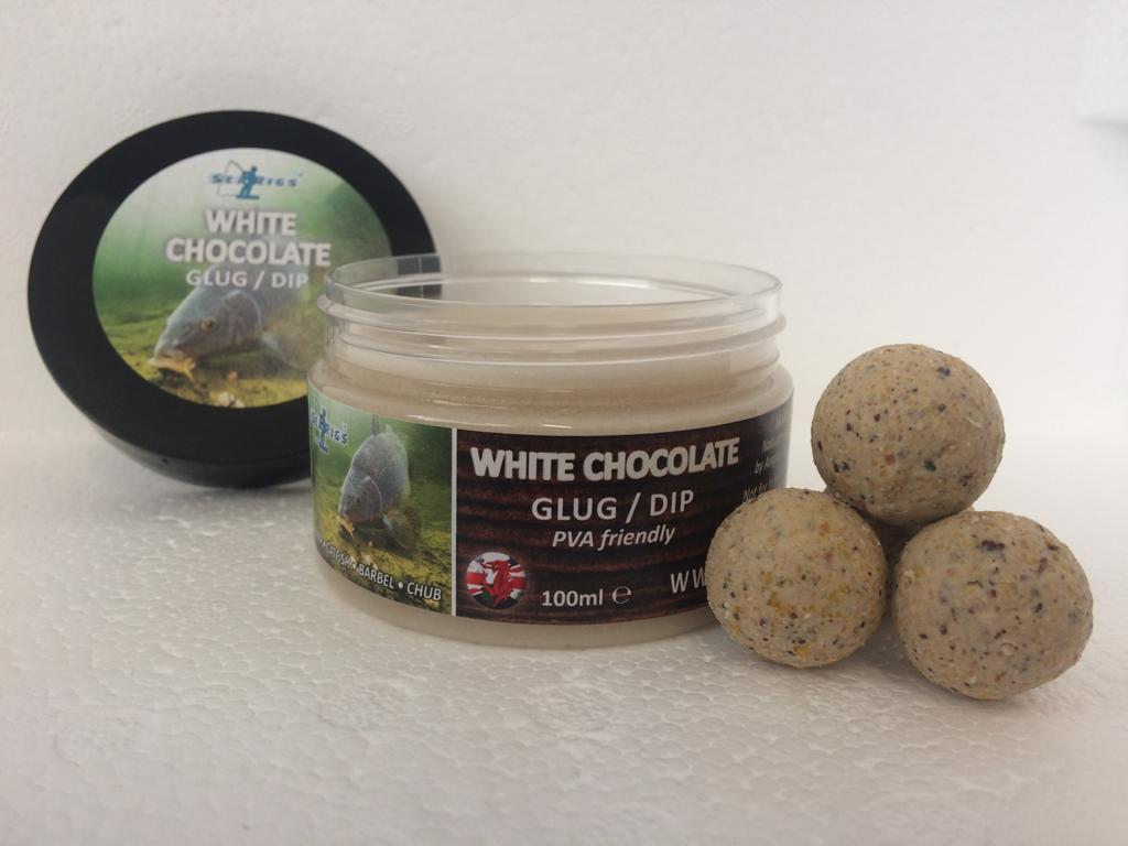 "WHITE CHOCOLATE 20mm ""OILY BOILIES"" WITH GLUG / DIP POT"