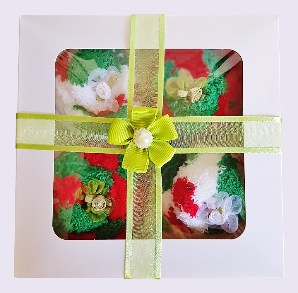 Women's ' Christmas Cozy Sock' Cupcakes, Green Ribbon Gift Box *ON SALE*