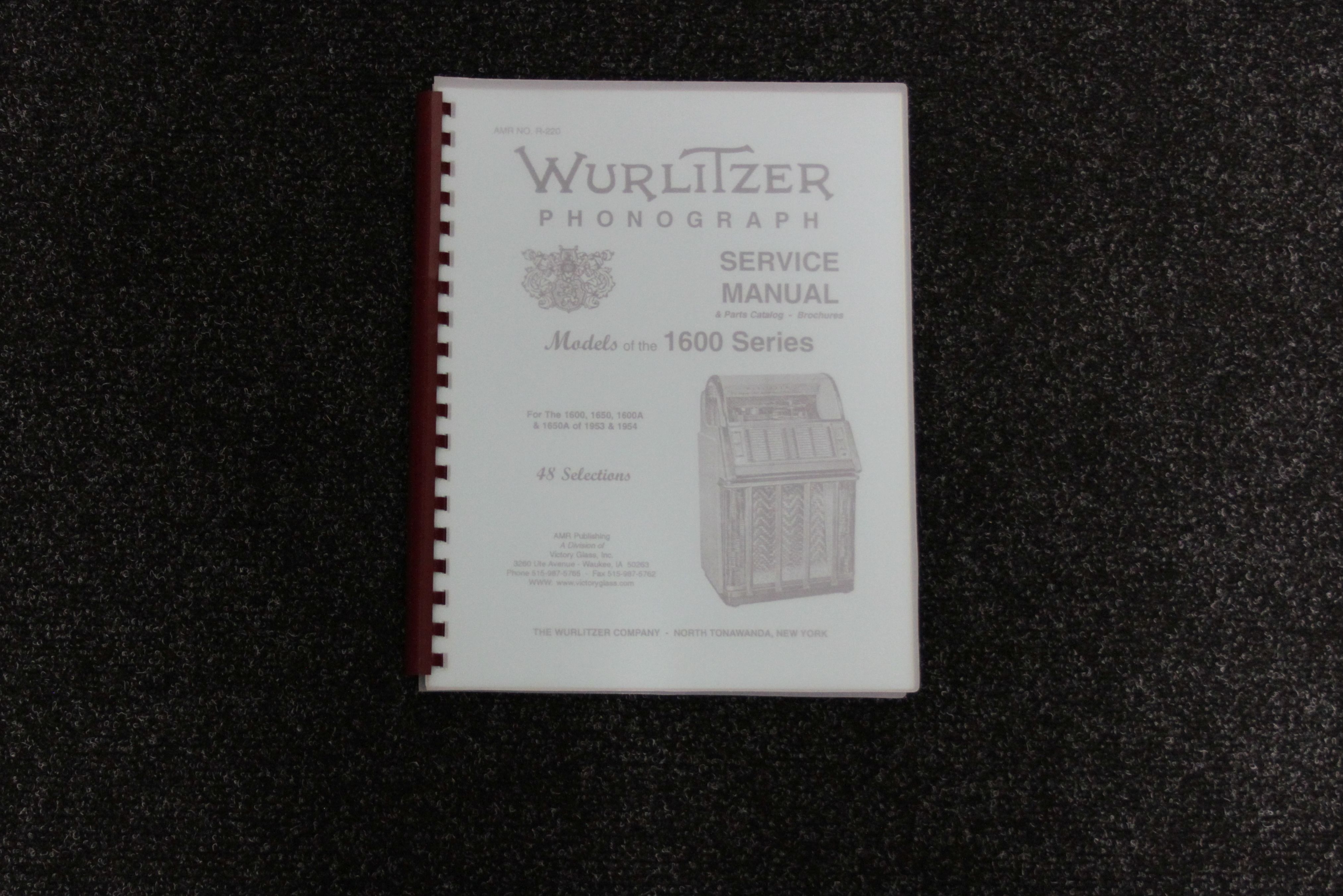 Wurlitzer Service Manual 1600 series