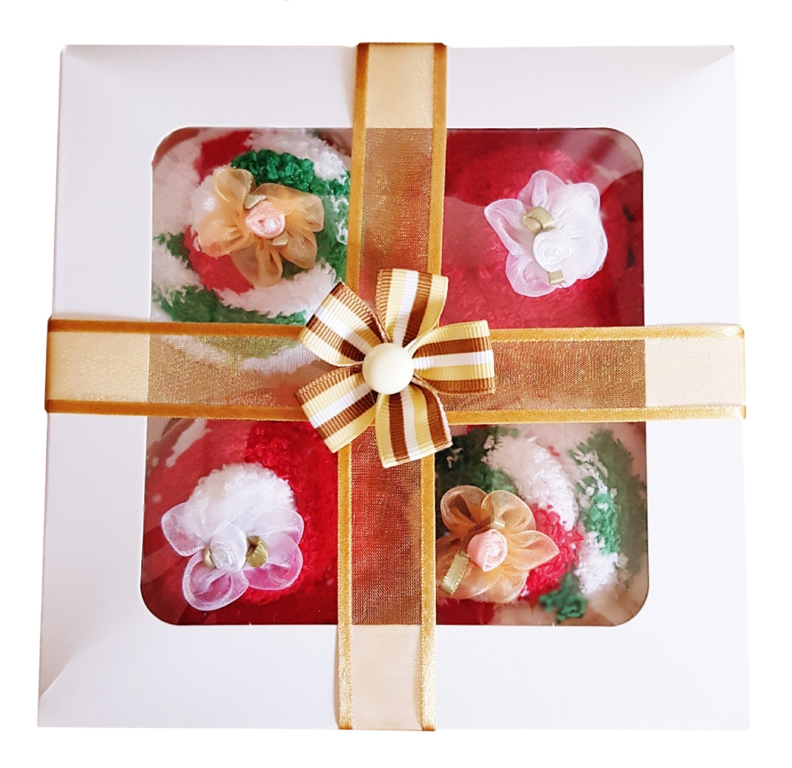 Women's ' Christmas Cozy Sock' Cupcakes, Gold Ribbon Gift Box