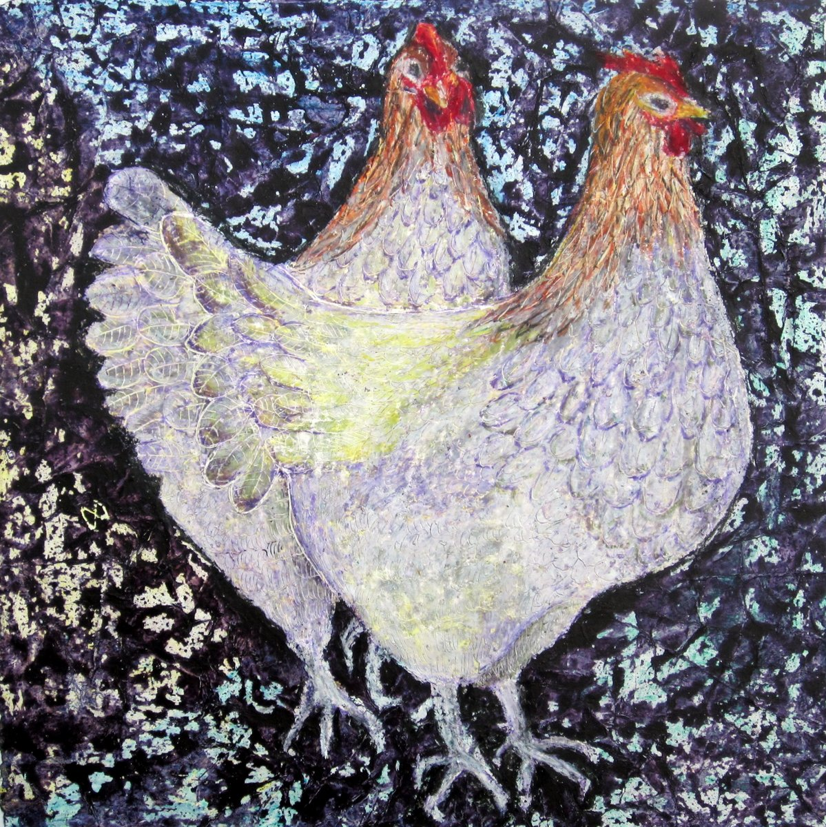 Beautiful vibrant painting of two hens with exotic plumage by contemporary Irish artist Mary Wallace, hen, cockerel, chicken, white, lilac. lemon yellow, sepia, rosewood