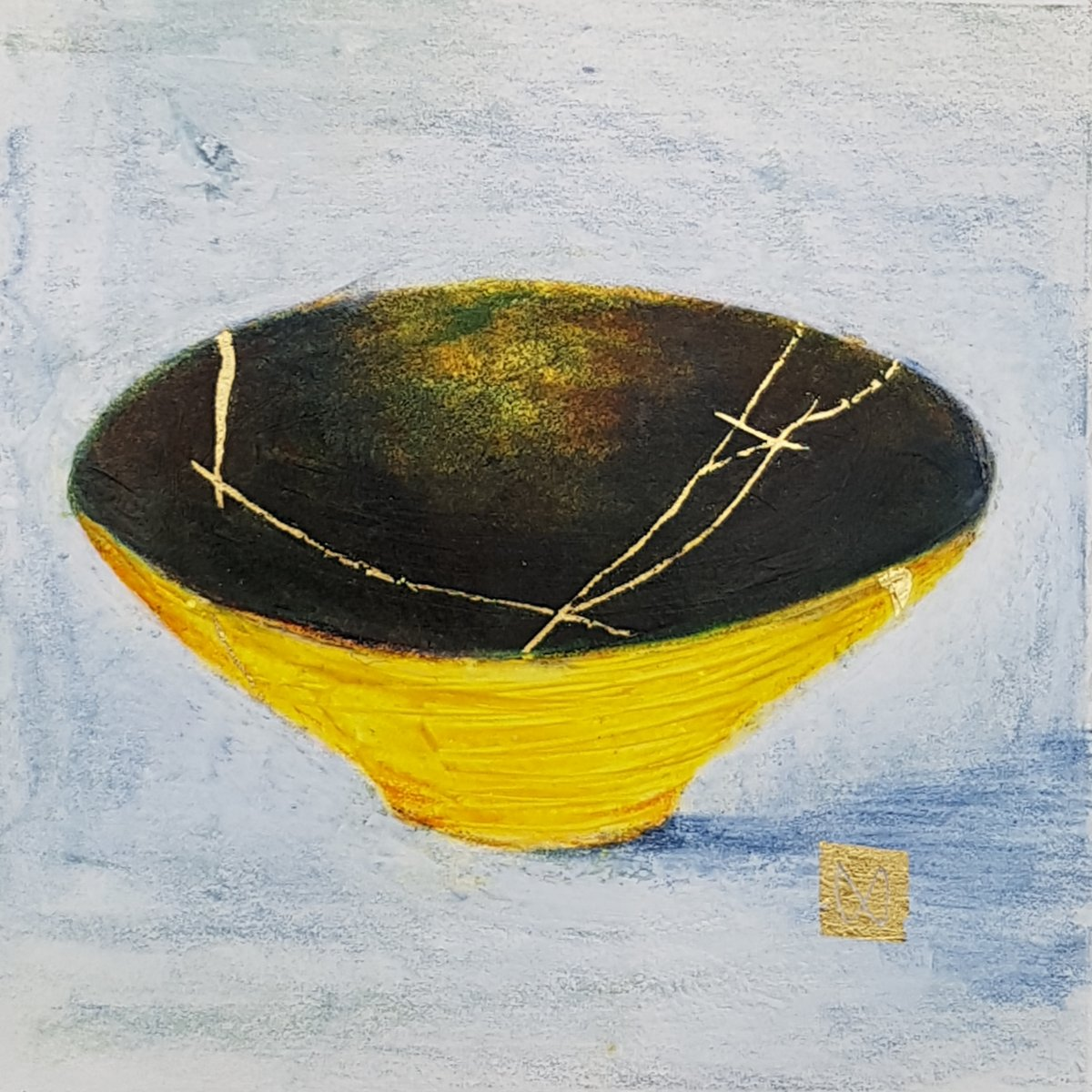 painting of Japanese kintsugi Summer tea bowl with gold by Irish artist lemon yellow mossy green