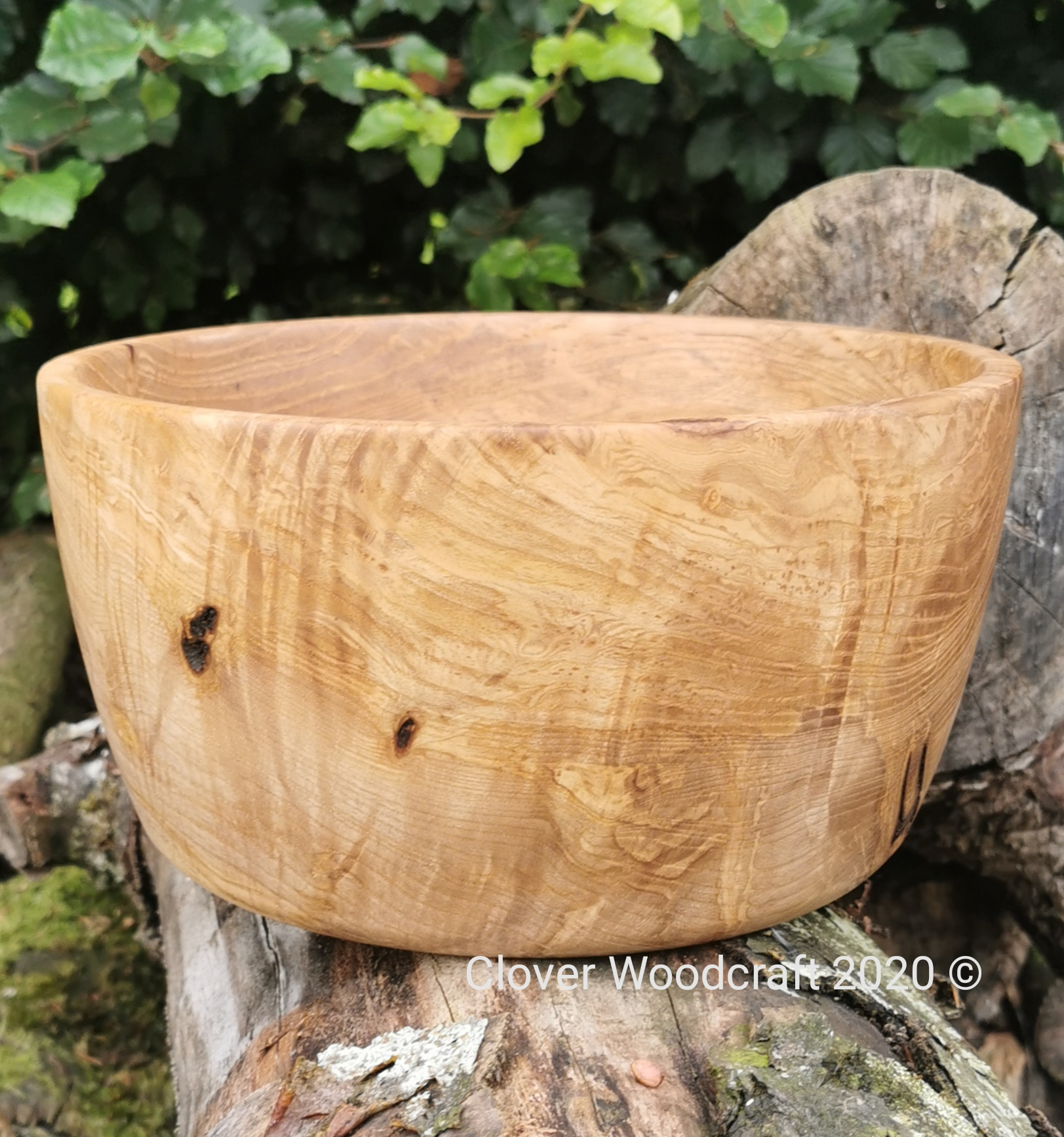 Large Olive Ash Wood Turned Bowl with naturally occuring voids